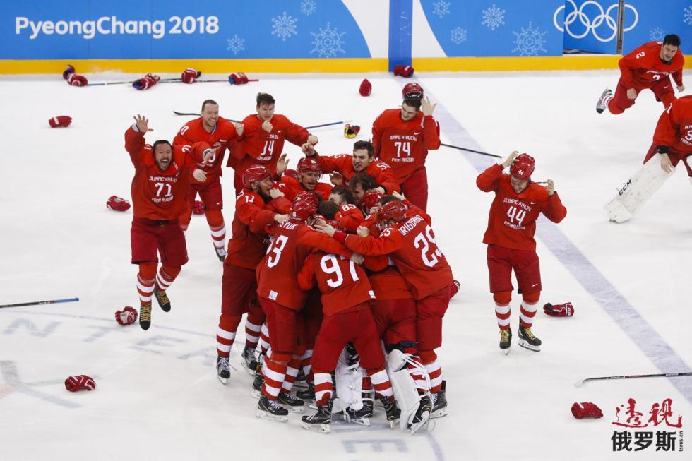 俄罗斯冰球队。图片来源:AP