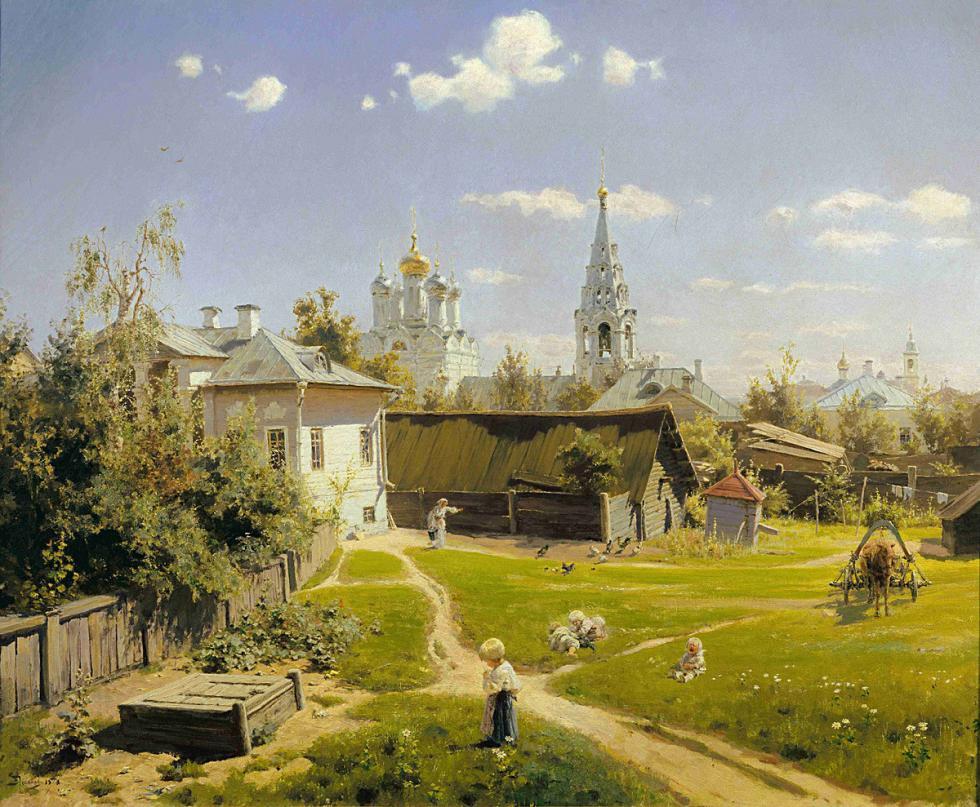 瓦西里·波列诺夫的绘画作品《莫斯科庭院》。图片来源:特列季亚科夫画廊