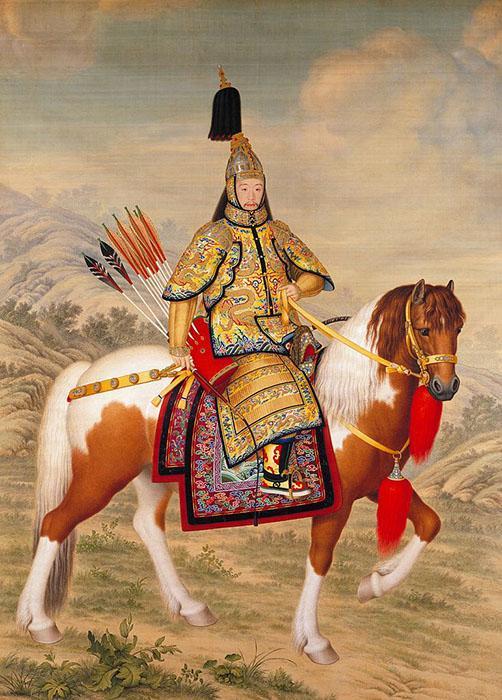郎世宁《乾隆皇帝大阅图》。1758年,墨笔,设色画,绢本。