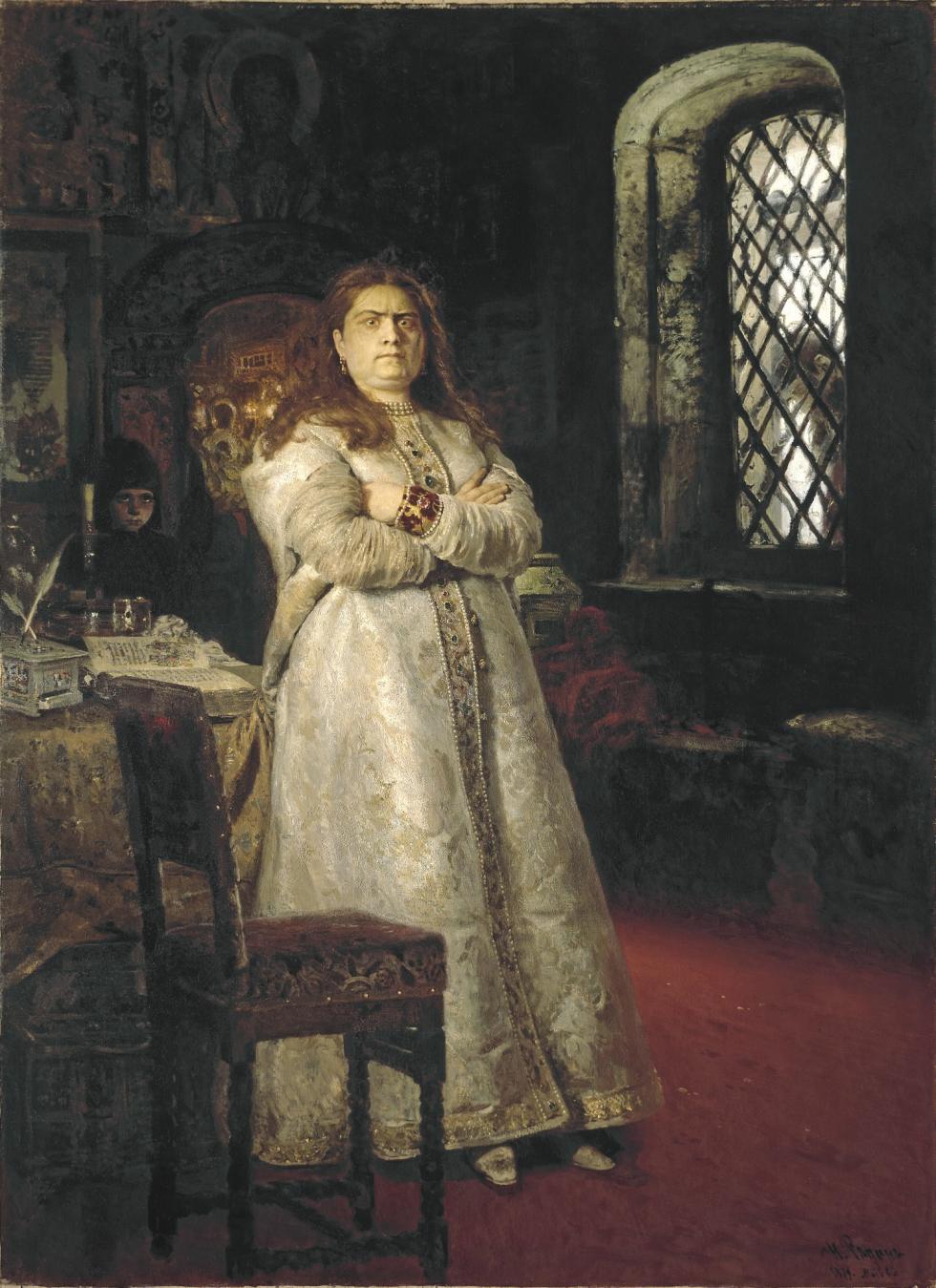 《1698年被囚禁于新处女修道院中的索菲亚公主》(窗外可见被绞杀的射击军),1879年。画面上被关在修道院小屋中的索菲娅公主,尚未接受将要在修道院中度过余生的命运,仍具有咄咄逼人的威严气势。画家:伊利亚·列宾(Ilya Repin)。图片来源:特列季亚科夫画廊