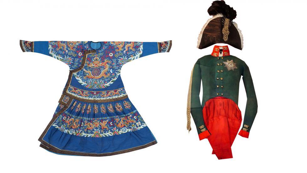 左侧:清代皇帝服装。 右侧:亚历山大一世加冕礼服装。