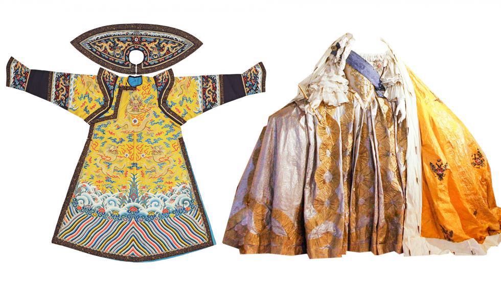 左侧: 清代皇后服装。右侧:俄罗斯皇后加冕礼服装。