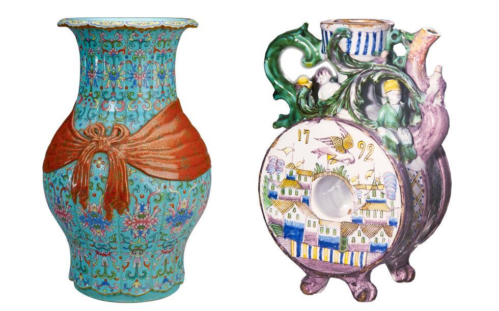 左侧: 清代花瓶。右侧:俄罗斯格热利罐, 18世纪。