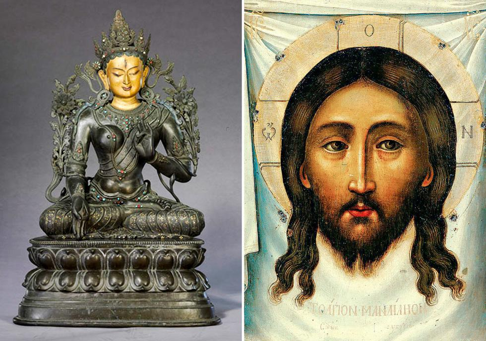 左侧:清代多罗菩萨雕像。右侧:耶稣,圣像1677年。