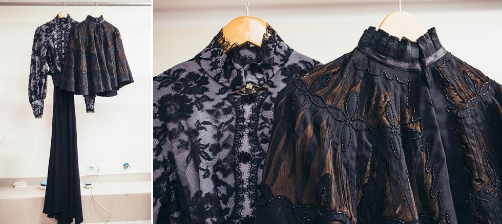 安东·契诃夫(Anton Chekhov)的《三姐妹》中玛莎的服装(来自博物馆藏品中的复古斗篷披风)。摄影:Mark Boyarsky