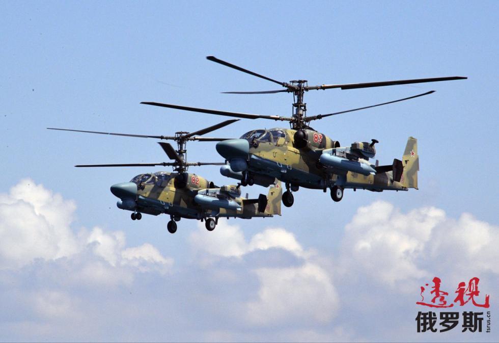 """卡-52""""短吻鳄""""攻击直升机。图片来源:Aleksandr Astafyev / 俄新社"""