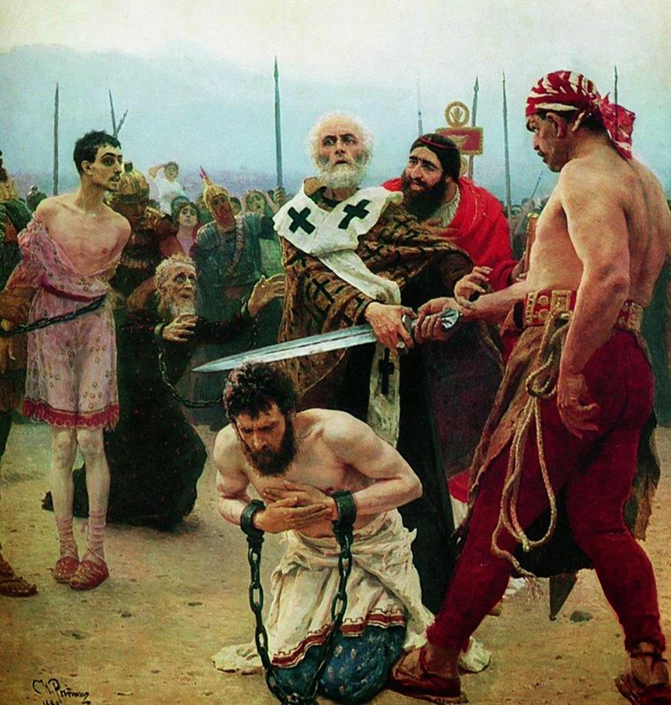 《圣尼古拉拯救三名冤囚的命》。图片来源:State Russian Museum
