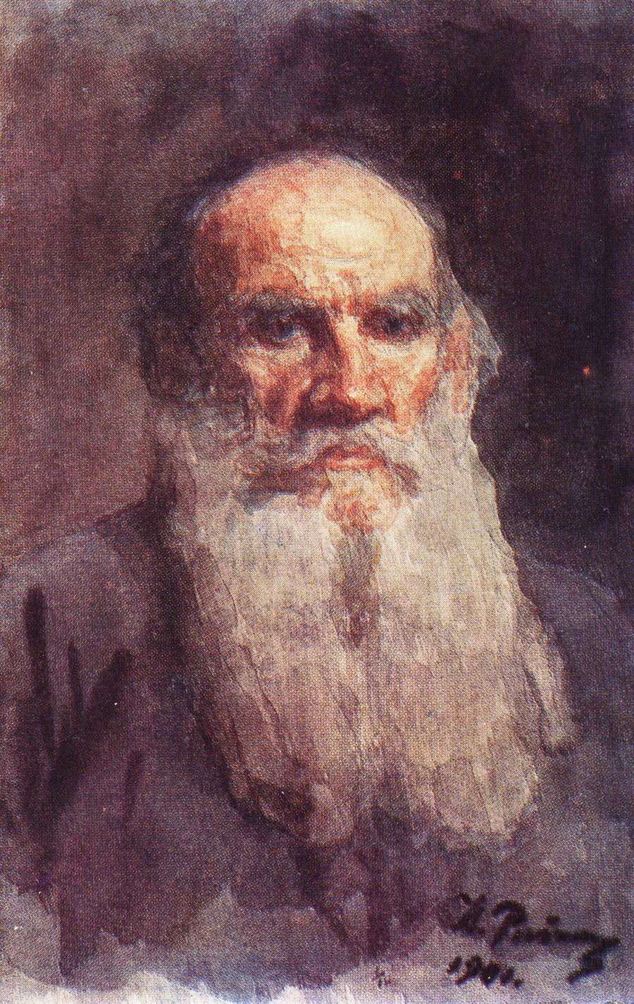 《列夫·尼古拉耶维奇·托尔斯泰的肖像画》,1901年。图片来源:State Tretyakov Gallery