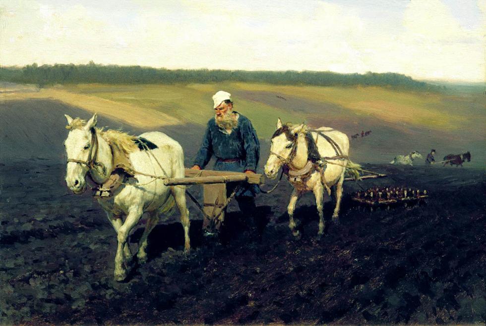 《托尔斯泰在田间》,1887年。图片来源:State Tretyakov Gallery