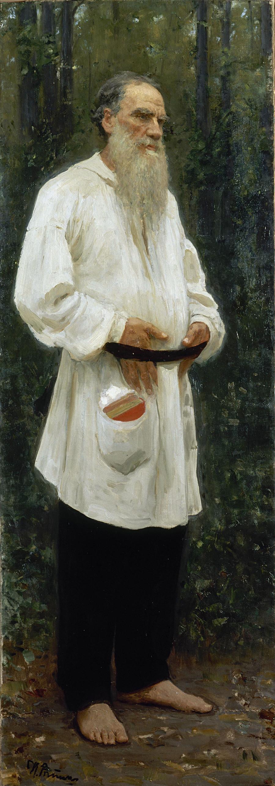 《托尔斯泰赤足》,1901年。图片来源:State Russian Museum