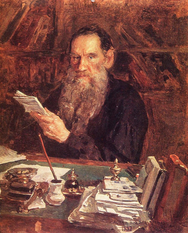 《列夫·尼古拉耶维奇·托尔斯泰在亚斯纳亚·波利亚纳庄园的书房》,1887年。图片来源:The Leo Tolstoy State Museum
