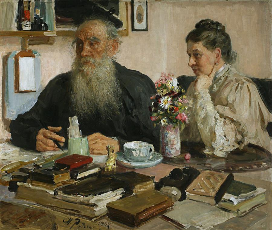 《托尔斯泰与妻子托尔斯塔娅》。图片来源:Pushkin House