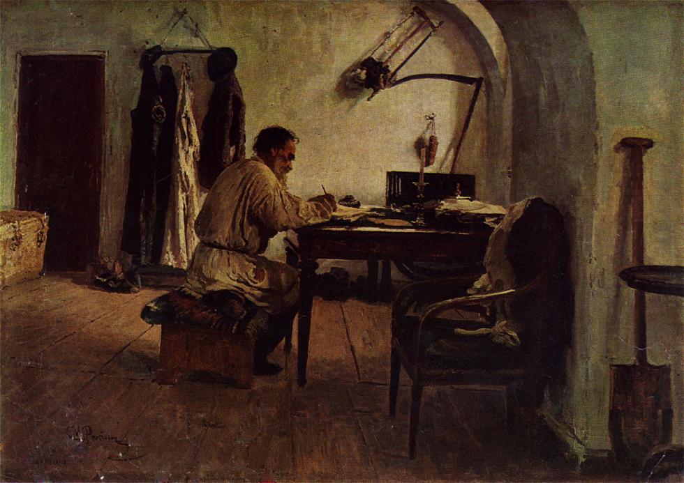 《列夫·托尔斯泰在拱顶下的房间里》,1891年。图片来源:State Russian Museum