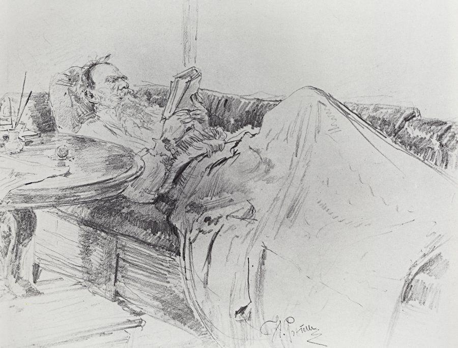 《列夫·尼古拉耶维奇·托尔斯泰在读书》。图片来源:State Tretyakov Gallery