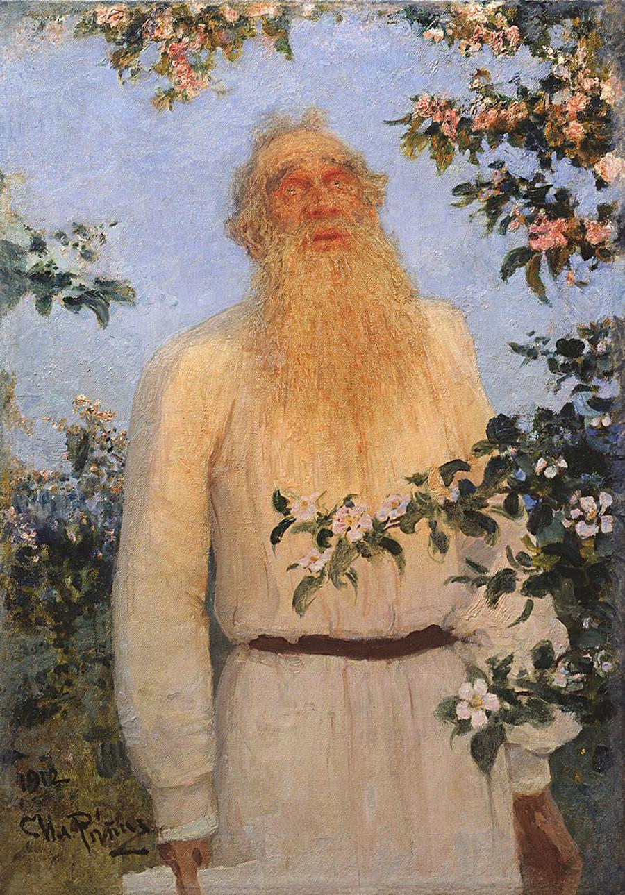 《列夫·尼古拉耶维奇·托尔斯泰的肖像画》,1912年。图片来源:Penaty Estate Museum of Ilya Repin