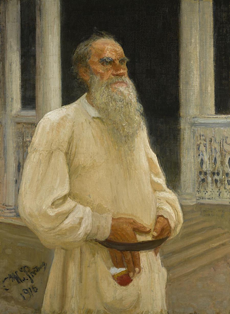 列夫·托尔斯泰的肖像画》,1916年。图片来源:Private collection