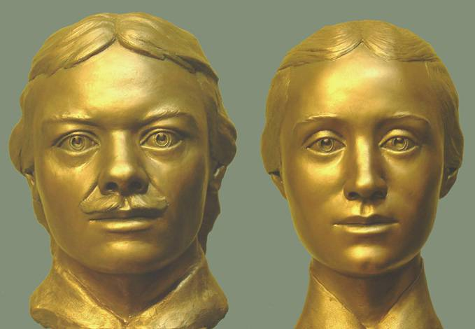 瓦西里·普龙奇谢夫和塔季扬娜·普龙奇谢娃的颅骨面貌复原。图片来源:公开来源