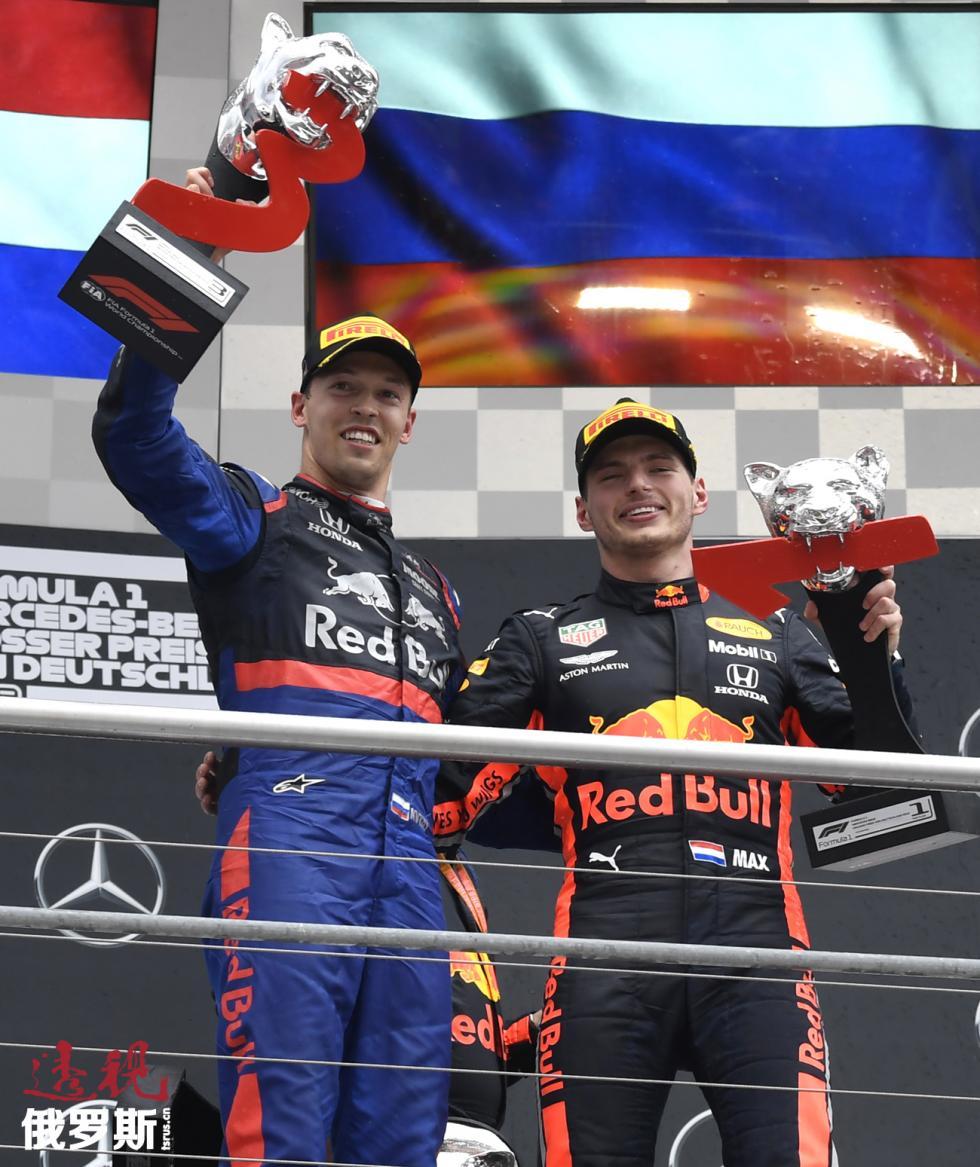 丹尼尔·克维亚特(左)和马克斯·韦斯塔彭。图片来源:AP