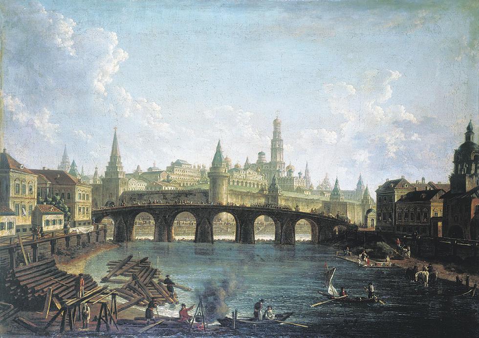 莫斯科克里姆林宫与大石桥,费奥多尔·阿列克谢耶夫(Fyodor Alekseev)。公开来源