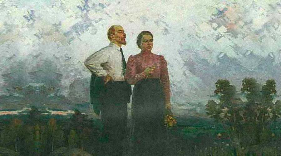 《弗拉基米尔·列宁与娜杰日达·克鲁普斯卡娅在舒申斯基村》。季莫费·科兹洛夫(Timofey Kozlov),1961年。图片来源:Omsk Regional Museum of Fine Arts