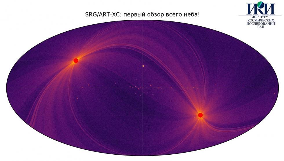 用ART-XC天文望远镜绘制的宇宙图 清晰度达1弧分/ 涞源:Roskosmos