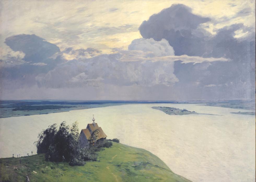 伊萨克·列维坦,《墓地上空》,1894年。藏于国立特列季亚科夫画廊。