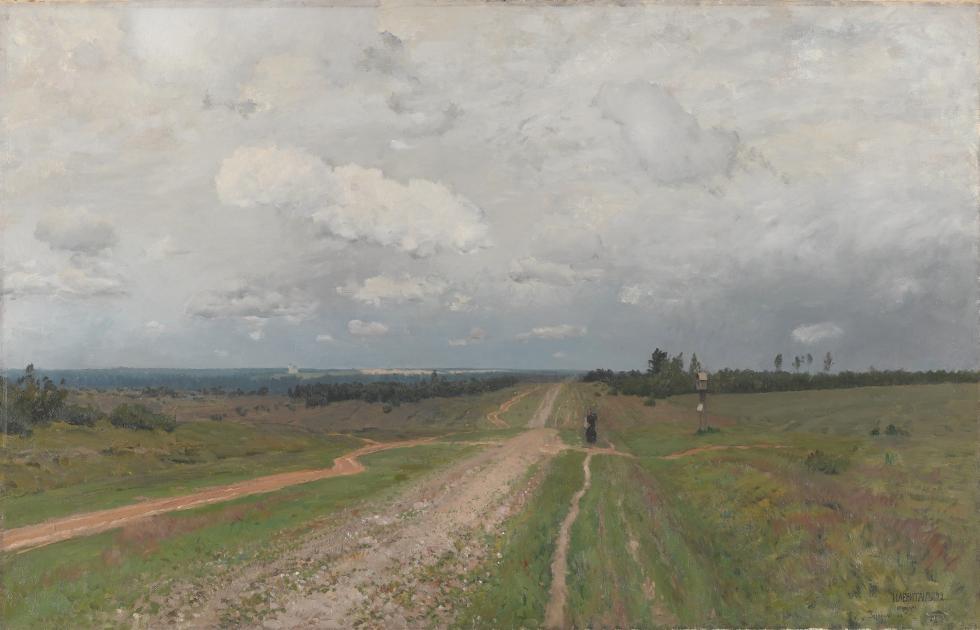 伊萨克·列维坦,《弗拉基米尔卡》,1894年。藏于国立特列季亚科夫画廊(画中是弗拉基米尔的一条道路,苦役犯正就沿这条路被流放到西伯利亚的)。