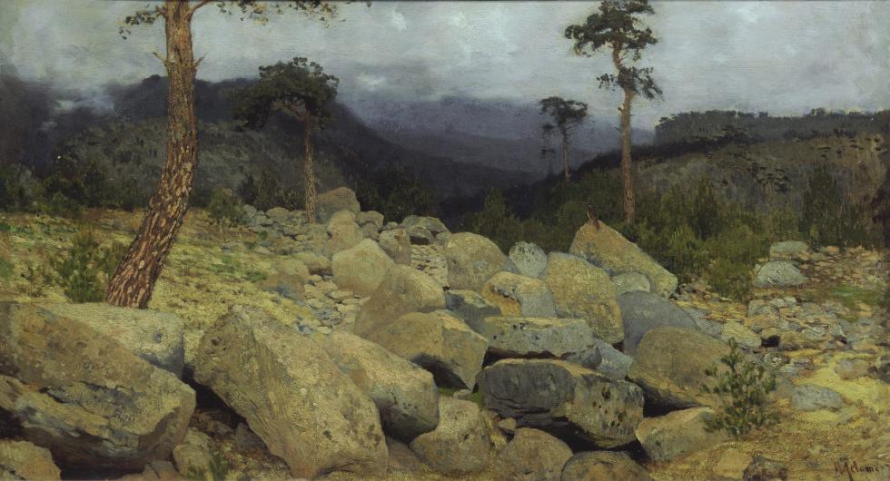 伊萨克·列维坦,《在克里米亚的山上》,1886年。藏于国立特列季亚科夫画廊。