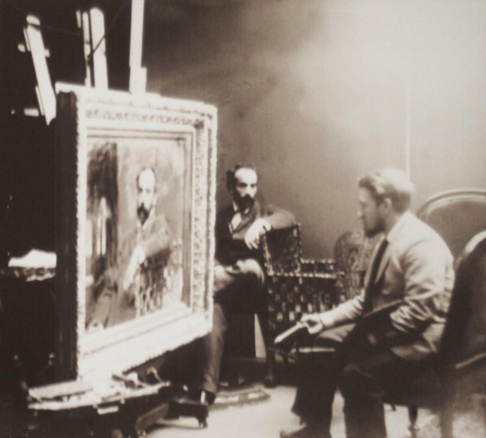 瓦连京·谢罗夫在列维坦的画室住宅中为其画像。藏于尼古拉·阿瓦库莫夫的私人档案。