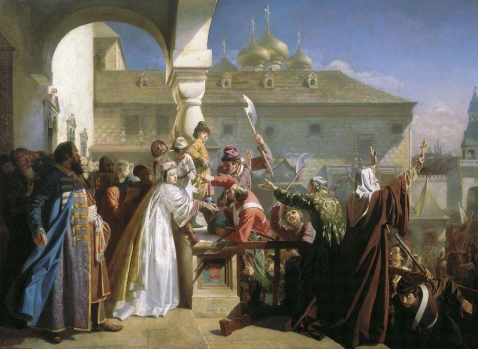 1682年,禁卫军起义。娜塔莉亚·纳雷什基纳给禁卫军看小伊凡。画家:Nikolai Dmitriev-Orenburgsky