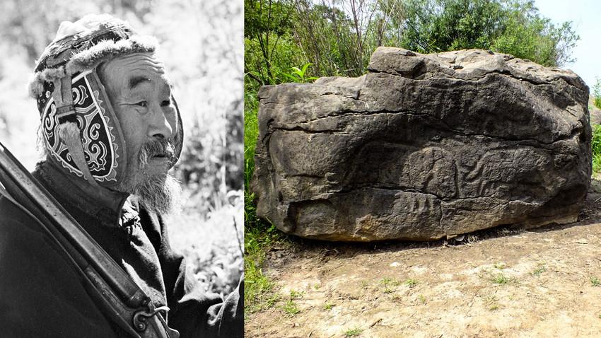 一名那乃族猎人(左);描绘猛犸象的古老石刻。图片来源:Boris Ushmaikin/Sputnik; Andshel (CC BY-SA 3.0)