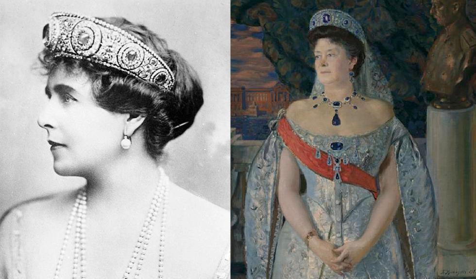 玛丽王后和玛利亚·帕夫洛夫娜佩戴蓝宝石王冠。公开来源