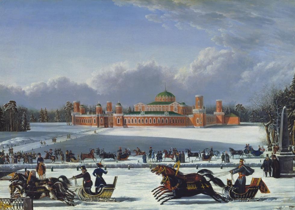 切尔卡斯基大公和戈利岑大公在莫斯科彼得罗夫斯基宫旁赛马。十九世纪上半叶。
