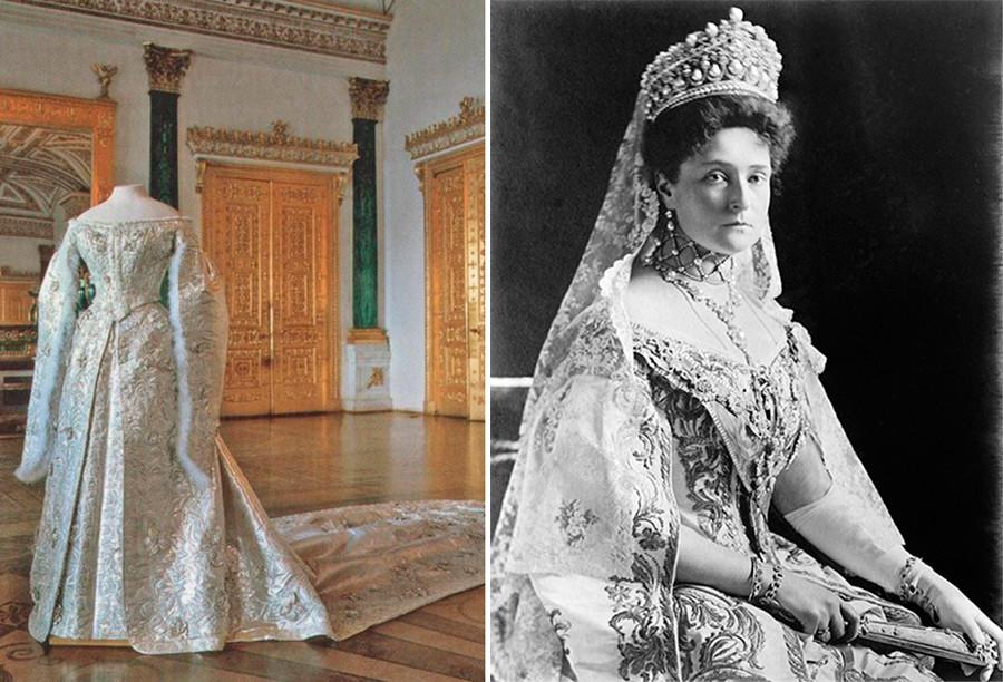 亚历山德拉·费奥多罗夫娜和她的婚纱。图片来源:Hermitage Museum; 公开来源