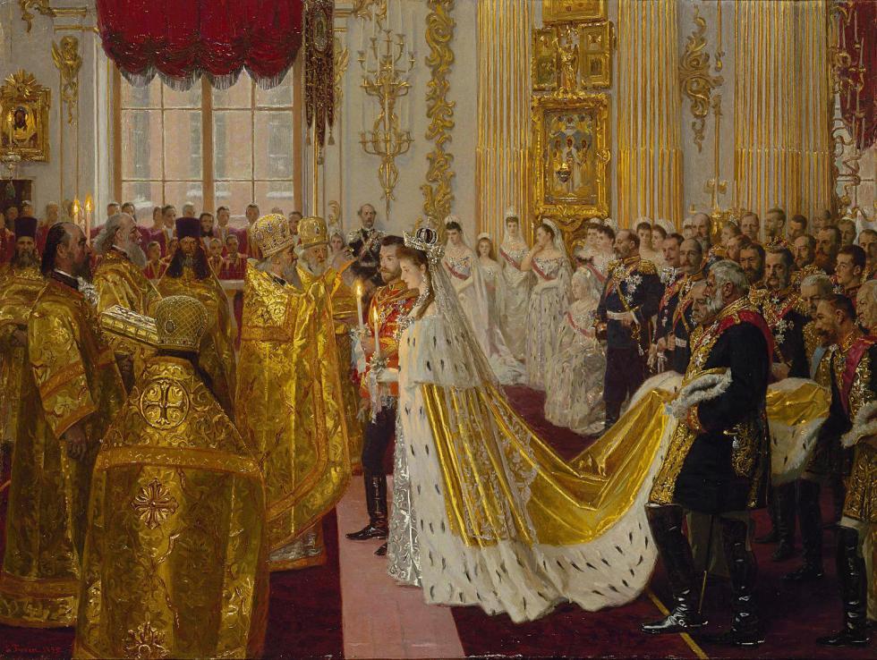 尼古拉二世和亚历山德拉·费奥多罗夫娜的婚礼。图片来源:Hermitage Museum