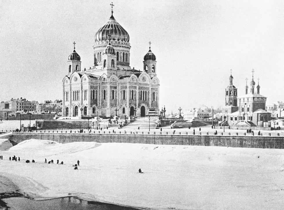 纪念1812年卫国战争胜利建造的基督救世主大教堂,1927年。图片来源:Naum Granovsky / 卢米埃尔兄弟摄影中心