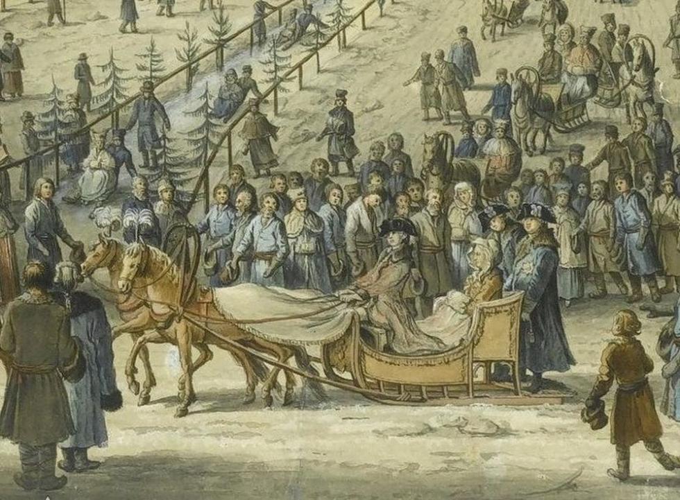 从冰滑梯上往下滑是女皇叶卡捷琳娜二世最喜欢的娱乐方式。