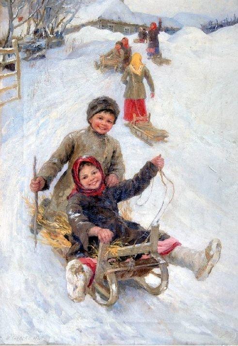 费多特·瑟齐科夫(Fedot Sychkov),《滑冰滑梯》,1902年。