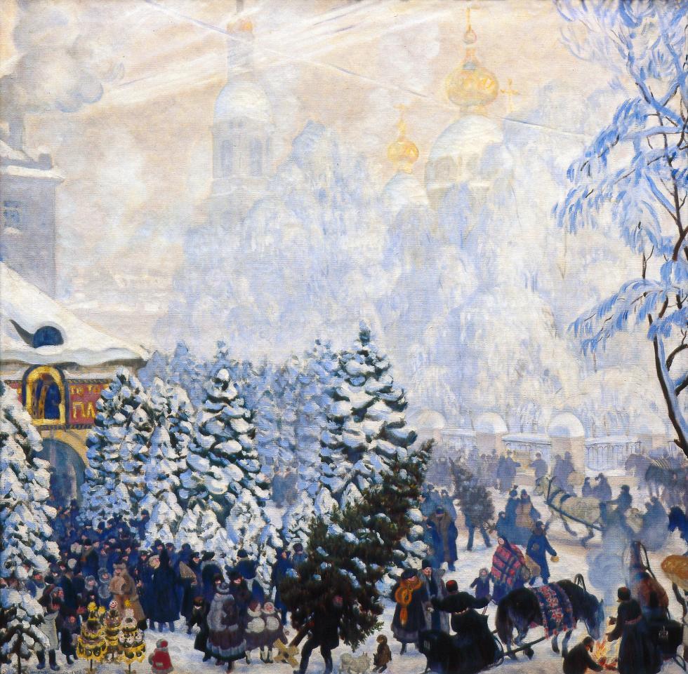 鲍里斯·库斯托季耶夫(Boris Kustodiev),《枞树集市》,1918年。