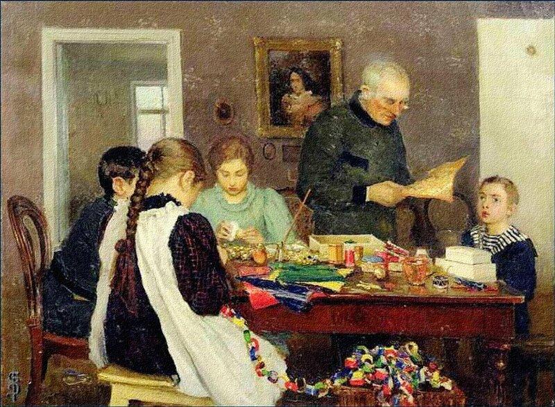 谢尔盖·多谢金(Sergey Dosekin),《准备过圣诞节》,1896年。