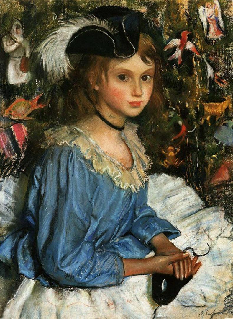 季娜伊达·谢列布里亚科娃(Zinaida Serebryakova),《新年枞树旁穿蓝衣服的卡佳(画家的女儿——编注)》,1922年,普希金造型艺术博物馆。