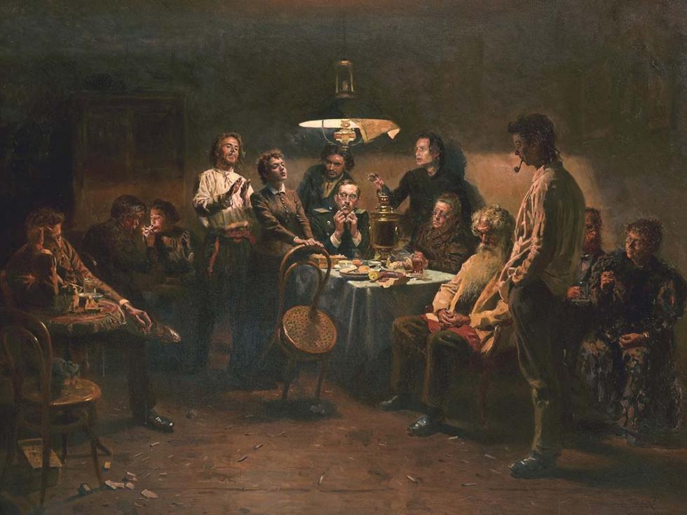 《晚会》,1875-1897年,国立特列季亚科夫画廊。