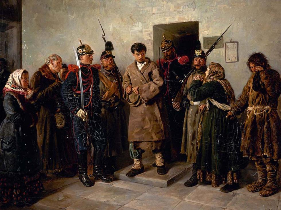 《被定罪的人》(局部),1879年,国立俄罗斯博物馆。