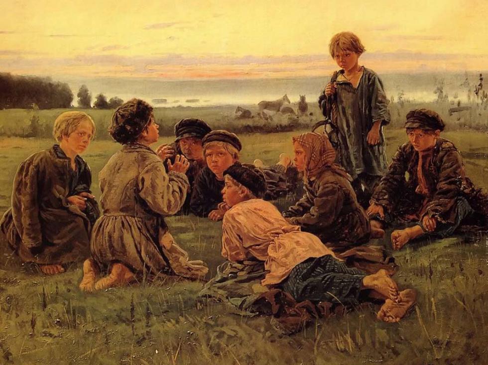 《农村男孩晚间牧马》,1869年,私人收藏。