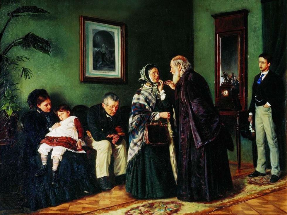 《在候诊室里》,1870年,国立特列季亚科夫画廊。