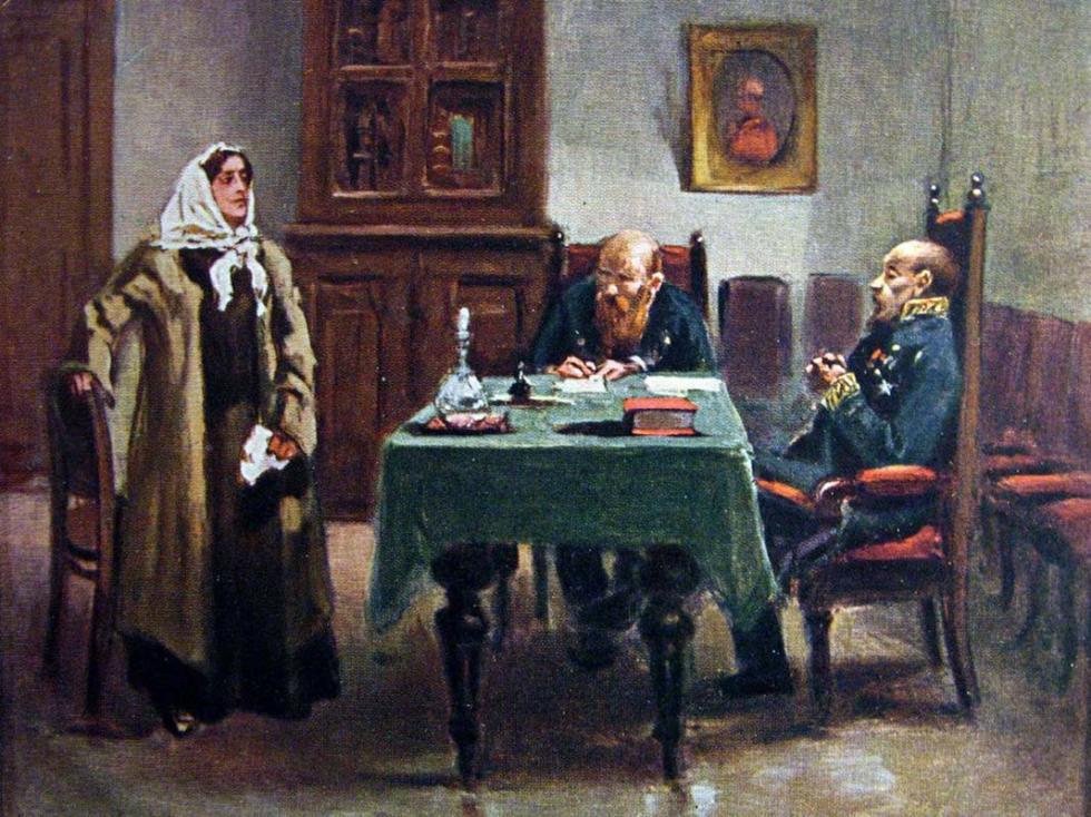 《审问女革命者》(明信片局部),1904年,私人收藏。