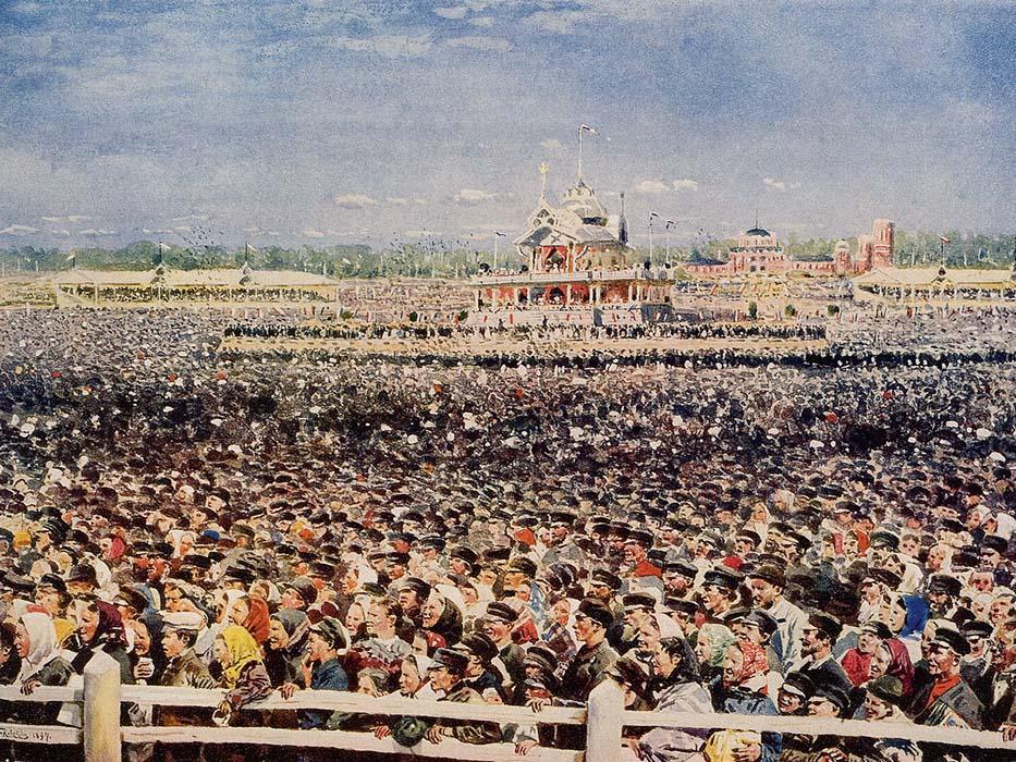 《霍登场踩踏事件》(局部),1899年,国立俄罗斯博物馆。