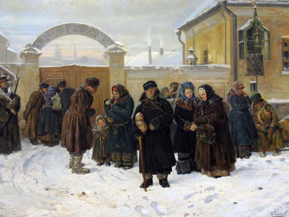 《等待·在监狱》(局部),1875年,俄国立特列季亚科夫画廊。