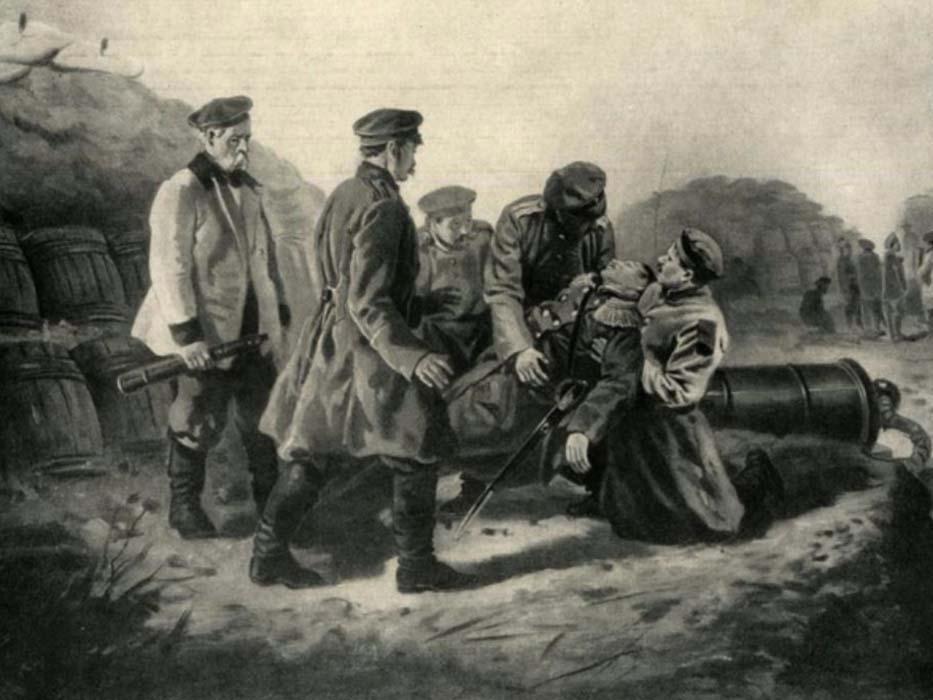 《1855年6月28日海军上将纳希莫夫的致命伤》,1872年,俄国家历史博物馆。