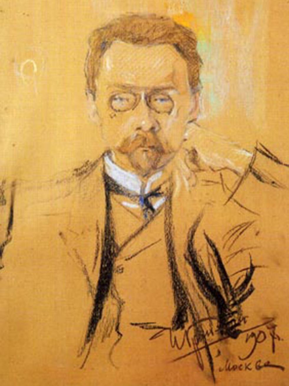 阿列克谢·巴赫鲁申肖像。画家:伊利亚·格林曼(Ilya Grinman)。图片来源:A.A. Bakhrushin State Central Theatre Museum